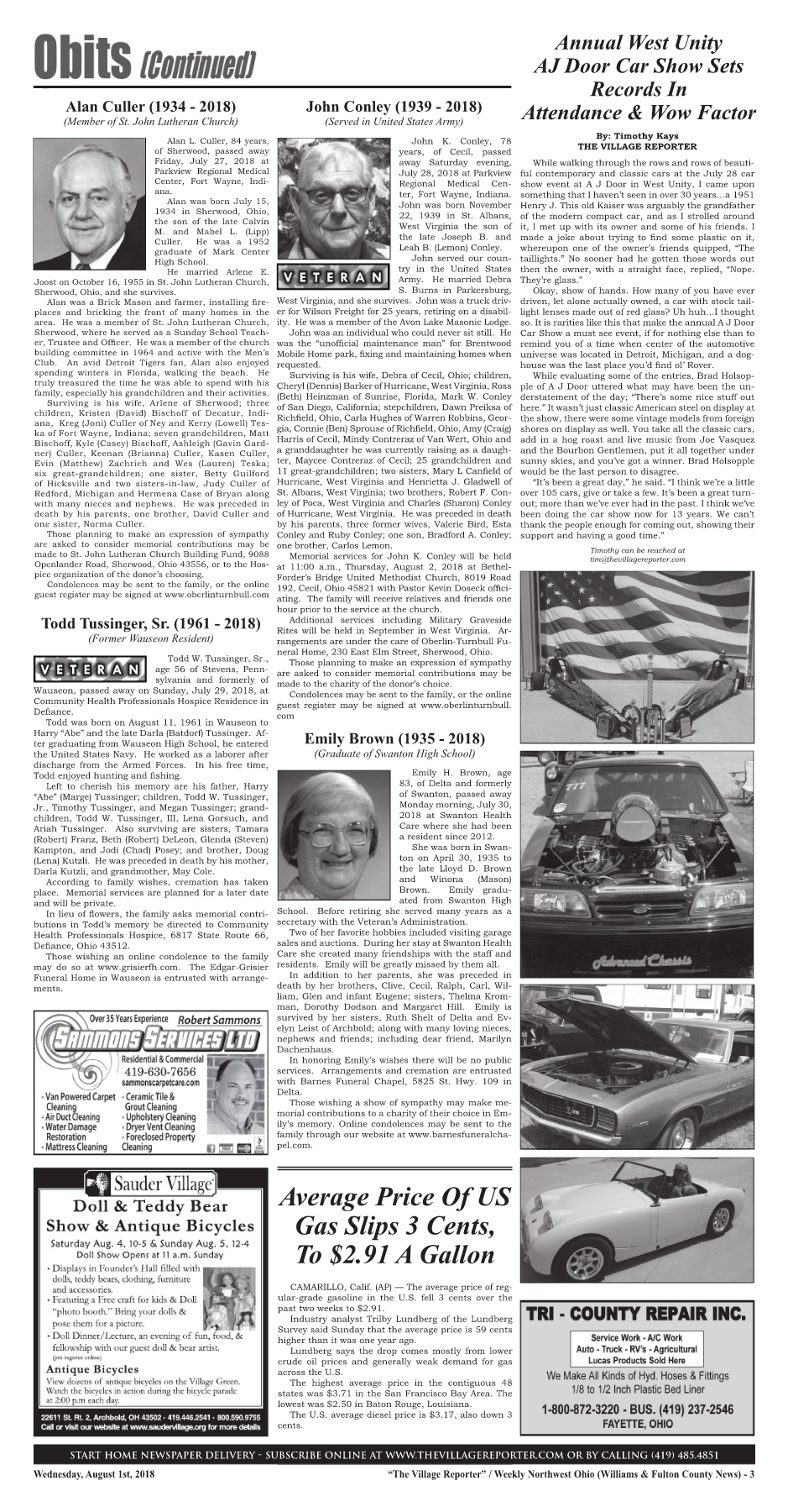 The Village Reporter - August 1st, 2018 Pages 1 - 46 - Text Version