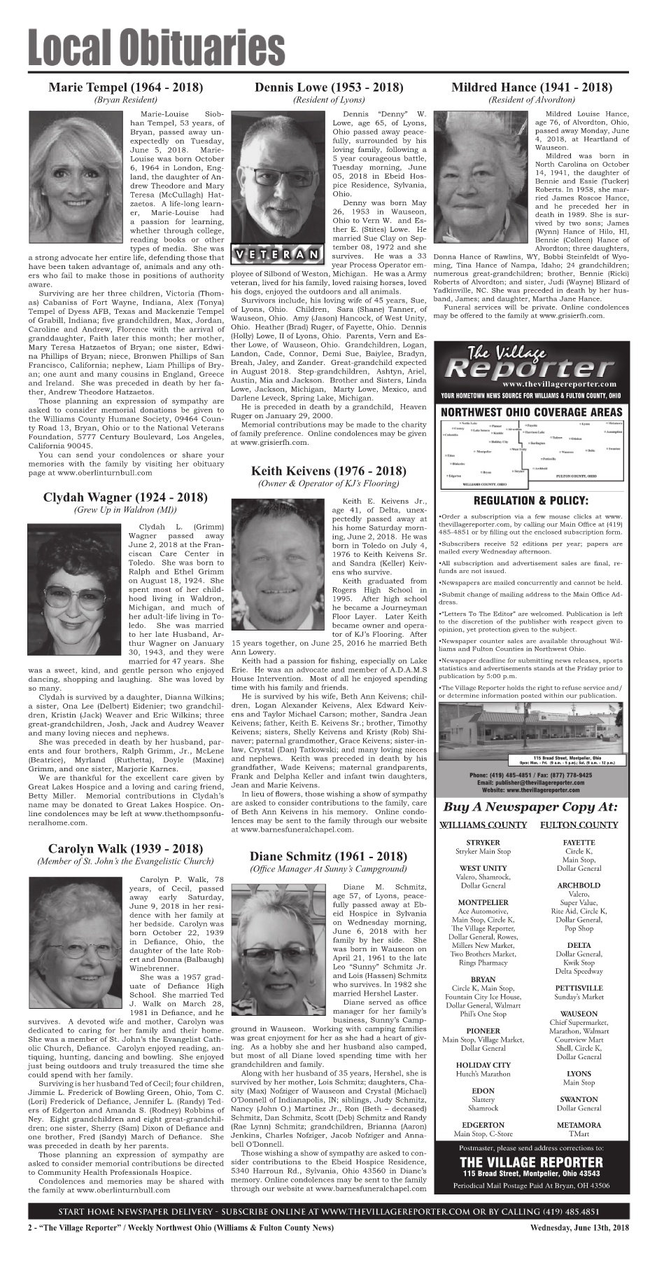 The Village Reporter - June 13th, 2018 Pages 1 - 36 - Text Version