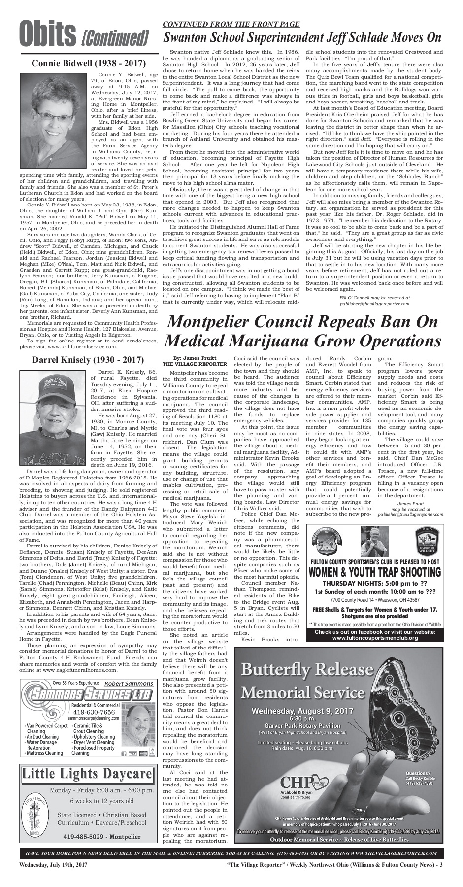 The Village Reporter - July 19th, 2017 Pages 1 - 40 - Text