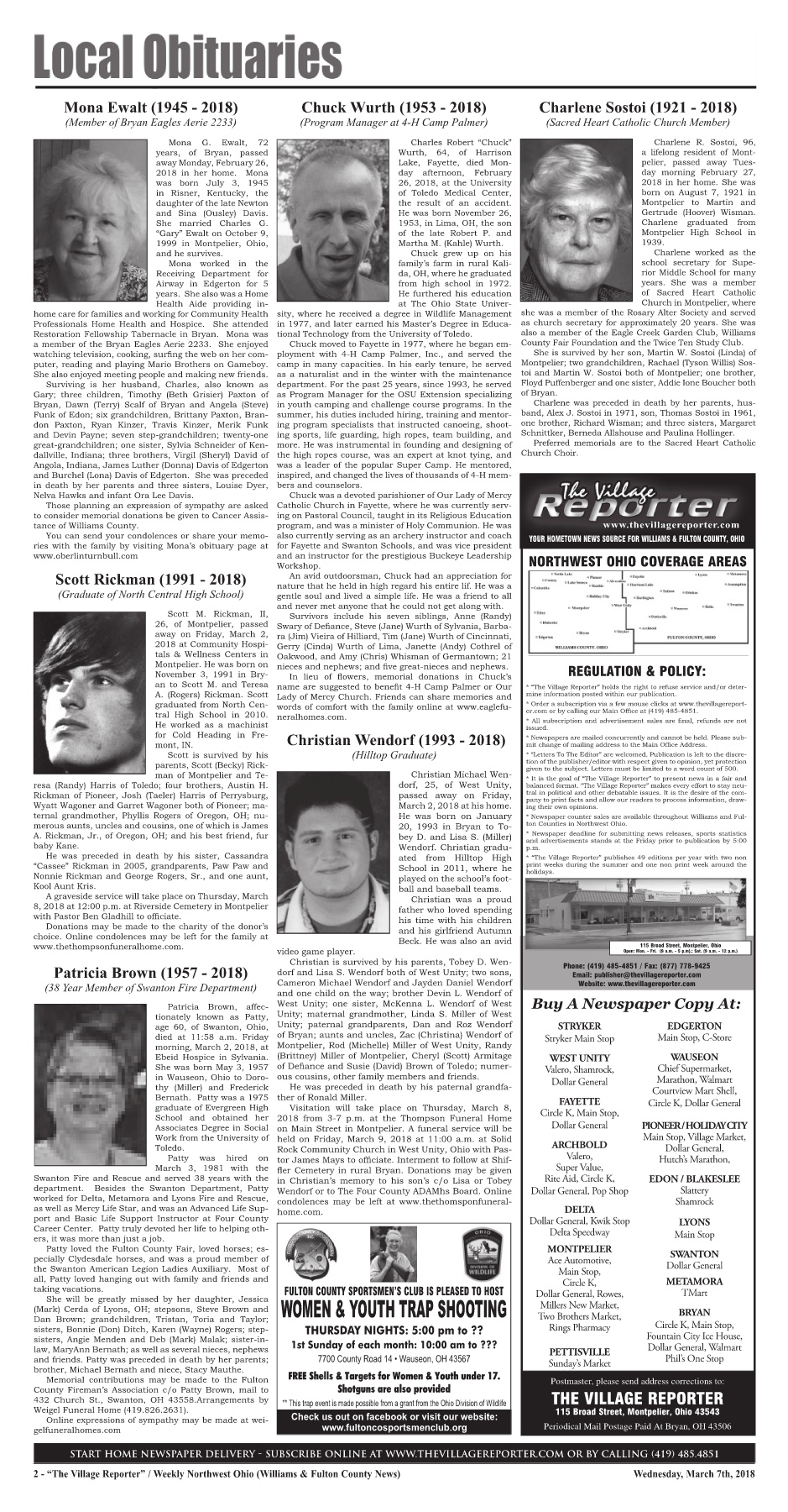 The Village Reporter - March 7th, 2018 Pages 1 - 44 - Text Version