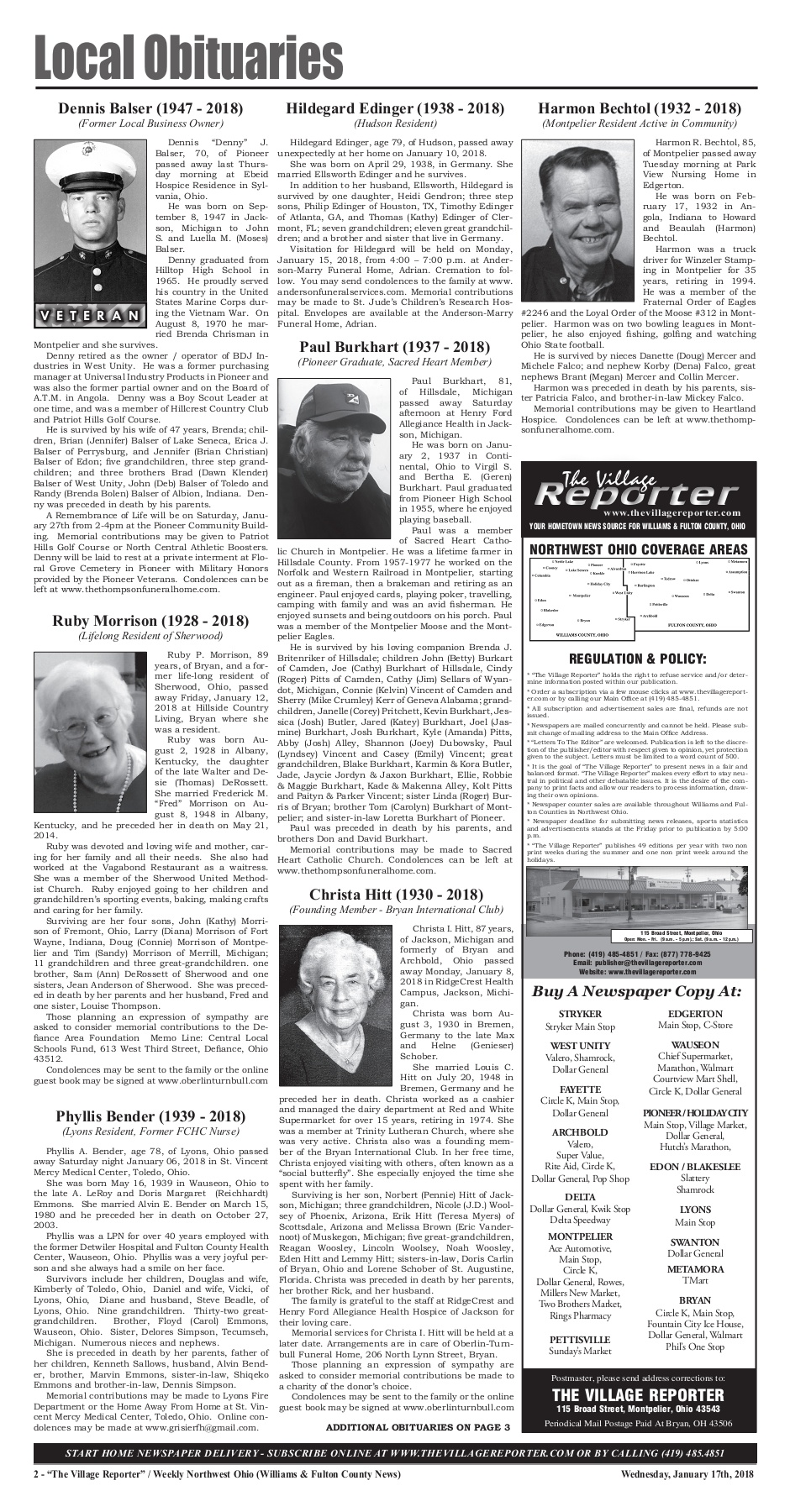 The Village Reporter - January 17th, 2018 Pages 1 - 42