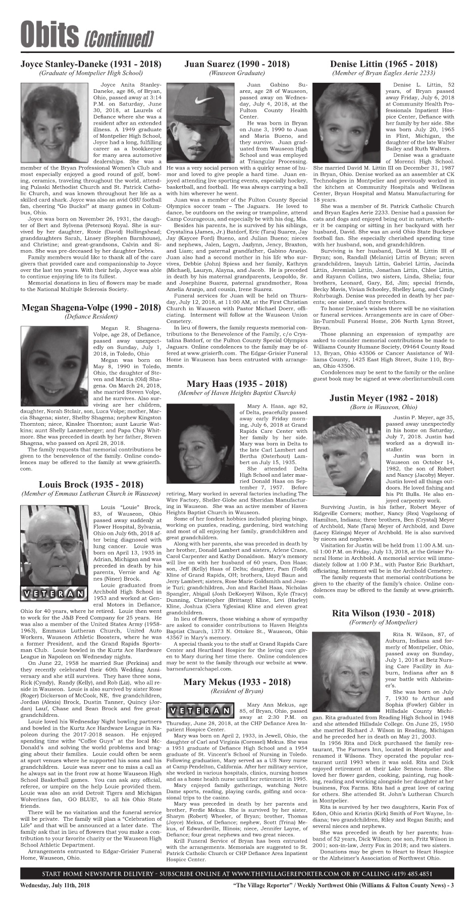 The Village Reporter - July 11th, 2018 Pages 1 - 32 - Text