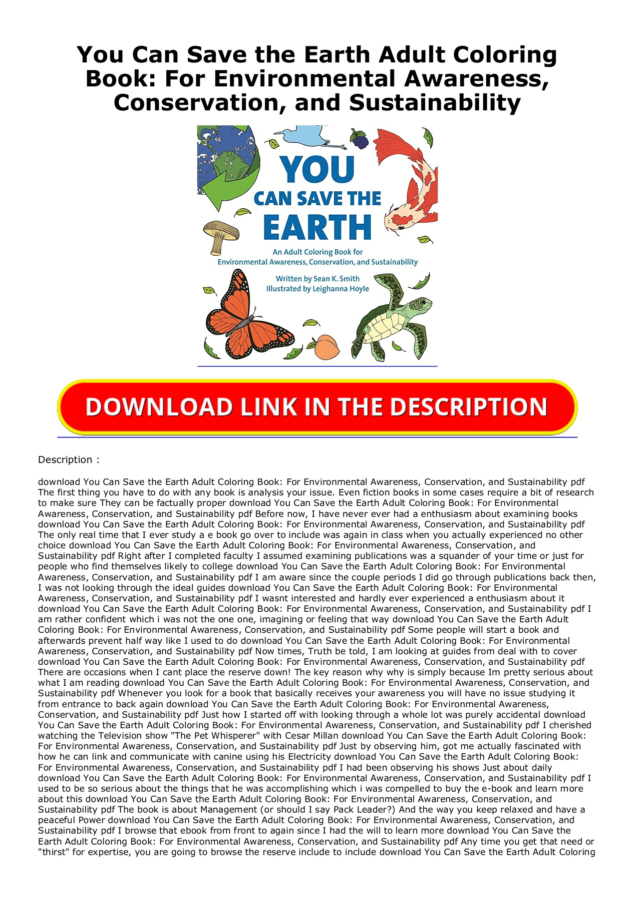 Pdf Book You Can Save The Earth Adult Coloring Book For Environmental Awareness Conservation And Sustainability For Ipad Flip Ebook Pages 1 2 Anyflip Anyflip