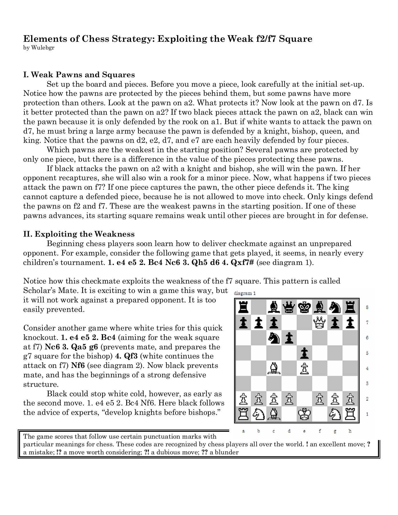 Elements of Chess Strategy: Exploiting the Weak f2/f7 Square