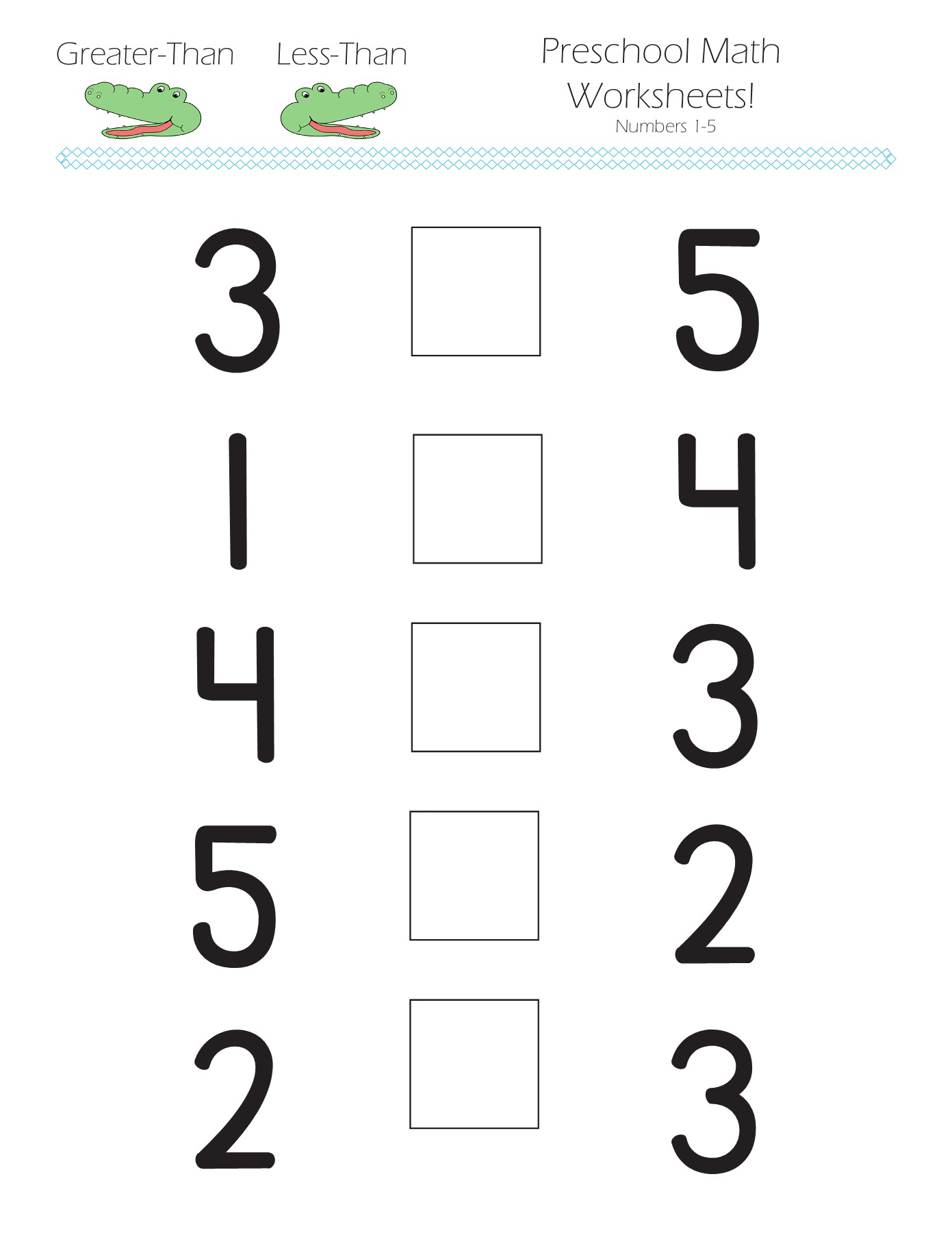 - Greater-Than Less-Than Preschool Math Worksheets! Pages 1 - 9