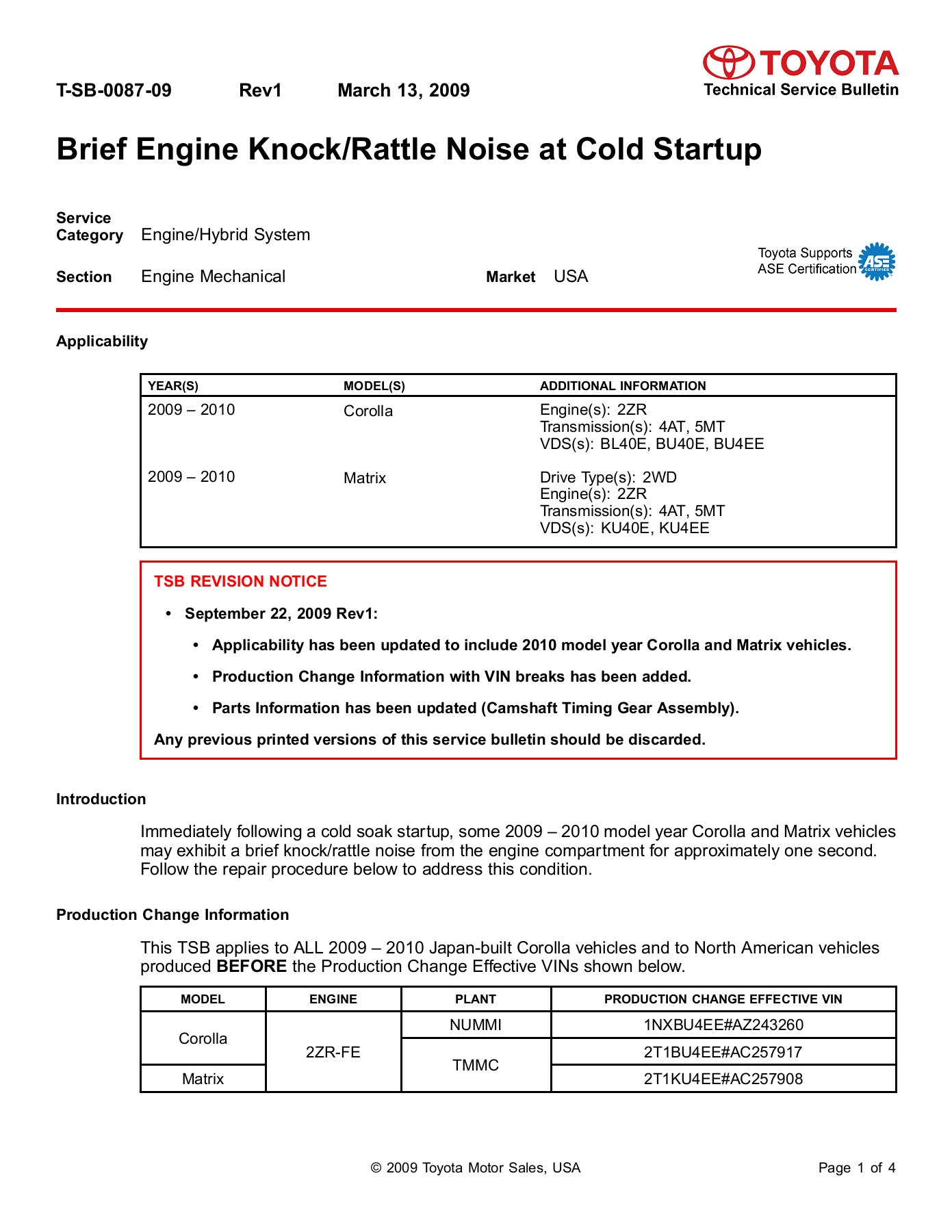 Brief Engine Knock/Rattle Noise at Cold Startup - ToyotaPart Pages 1