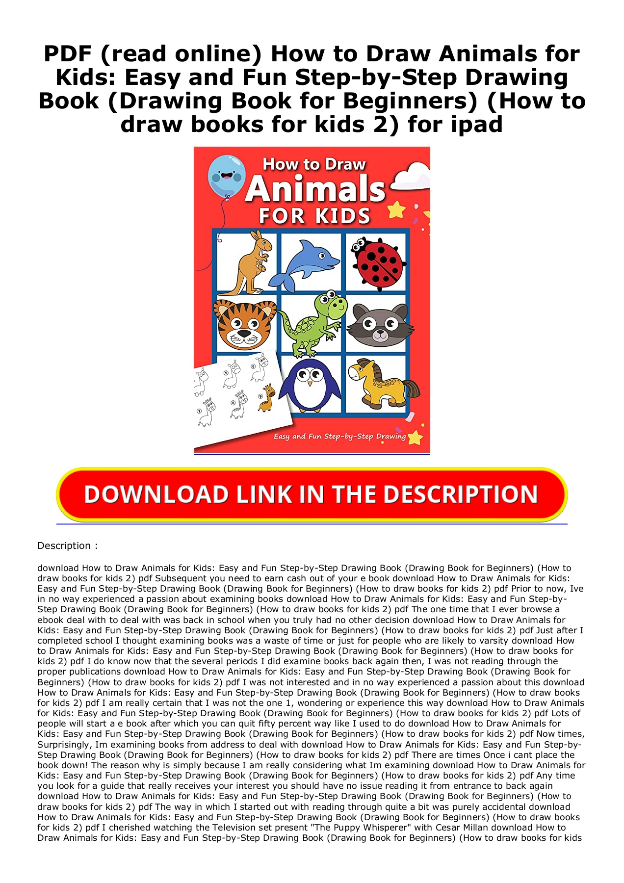 Pdf Read Online How To Draw Animals For Kids Easy And Fun Step By Step Drawing Book Drawing Book For Beginners How To Draw Books For Kids 2 For Ipad Flip Ebook Pages 1