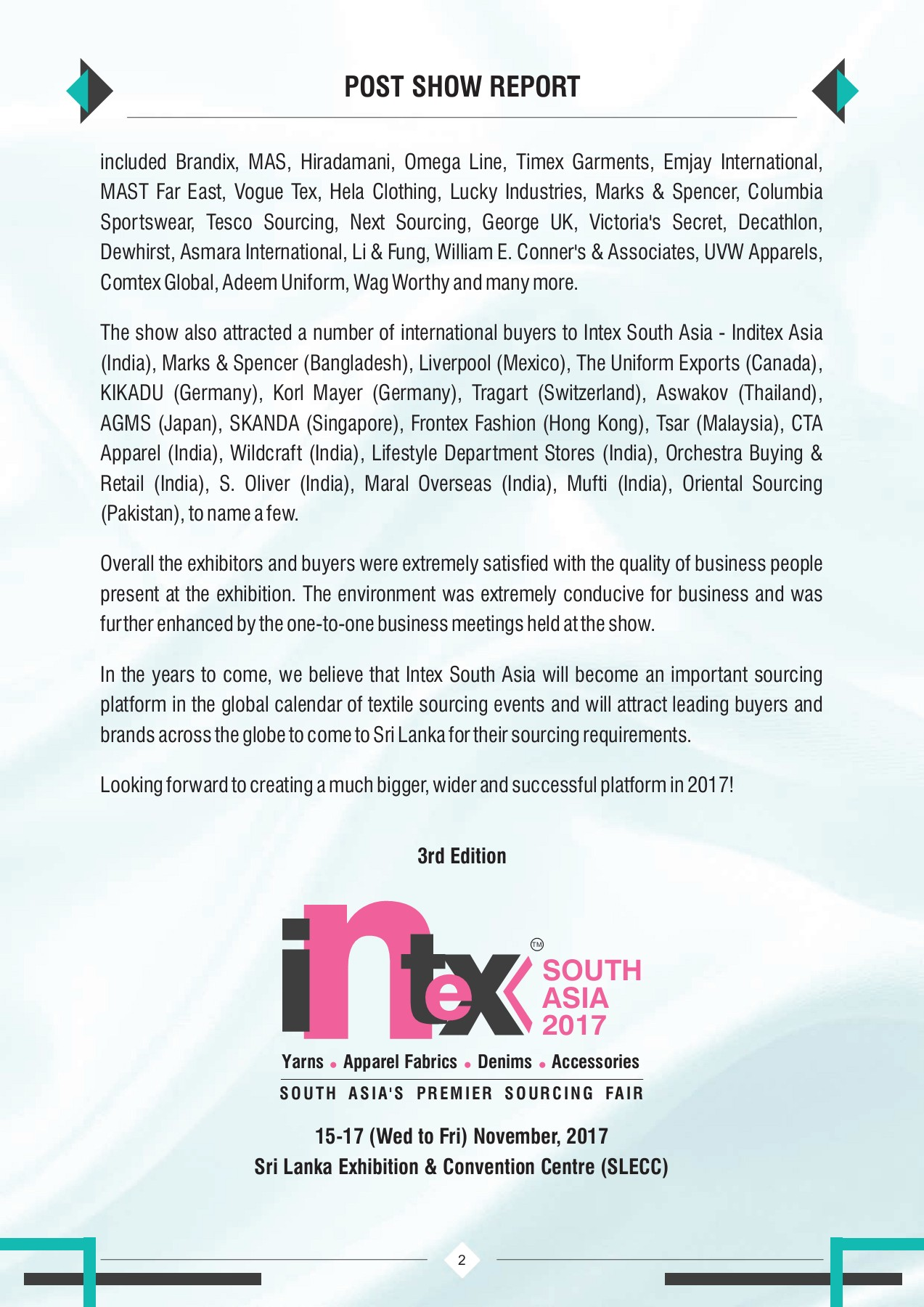 INTEX SOUTH ASIA POST SHOW REPORT 2016 Pages 1 - 50 - Text Version