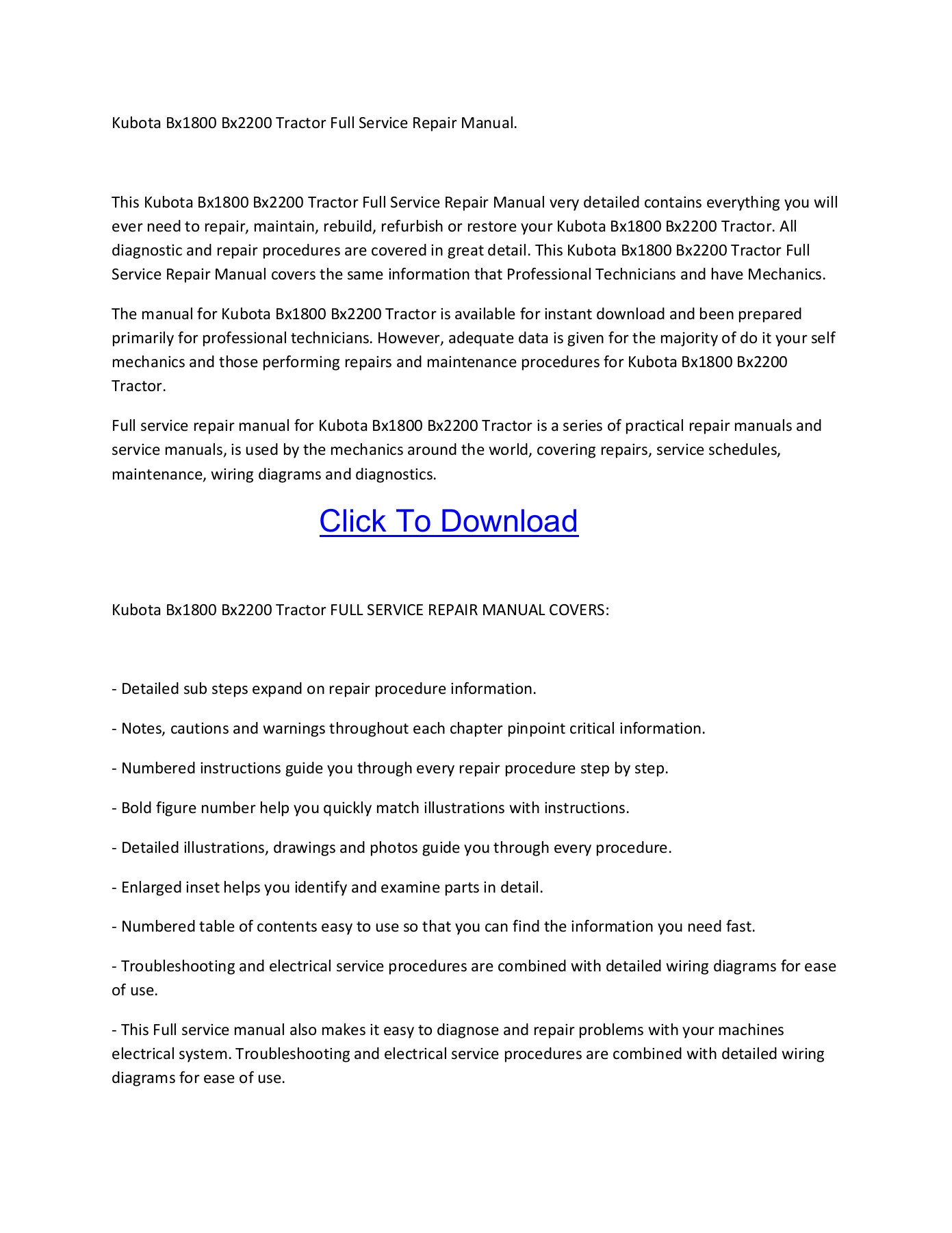 [SCHEMATICS_4UK]  Kubota Bx1800 Bx2200 Tractor Full Service Repair Manual Pages 1 - 1 - Text  Version | AnyFlip | Kubota Bx2200 Service Manual Wiring Diagram |  | AnyFlip