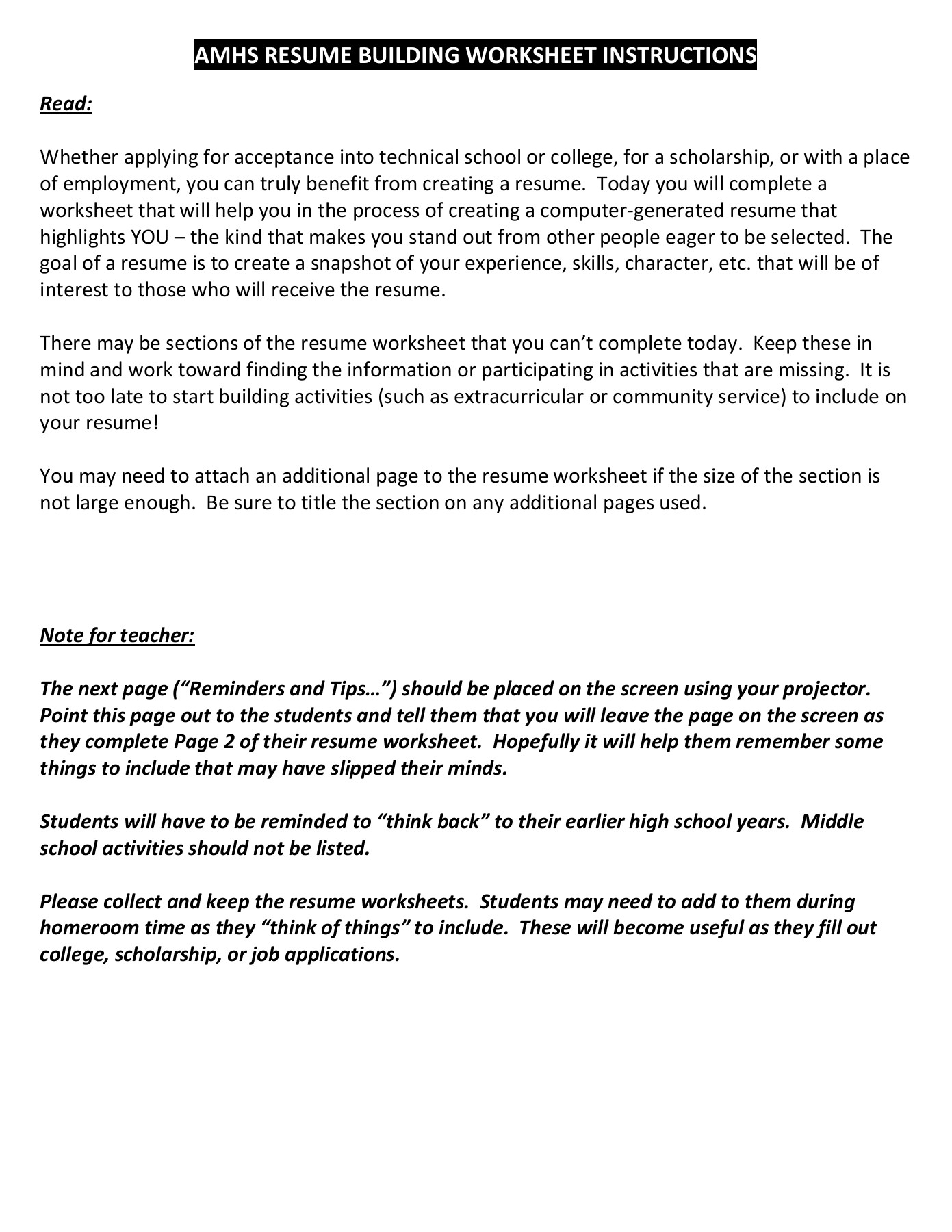 Resume Building Worksheet Pages 1 4 Text Version Anyflip