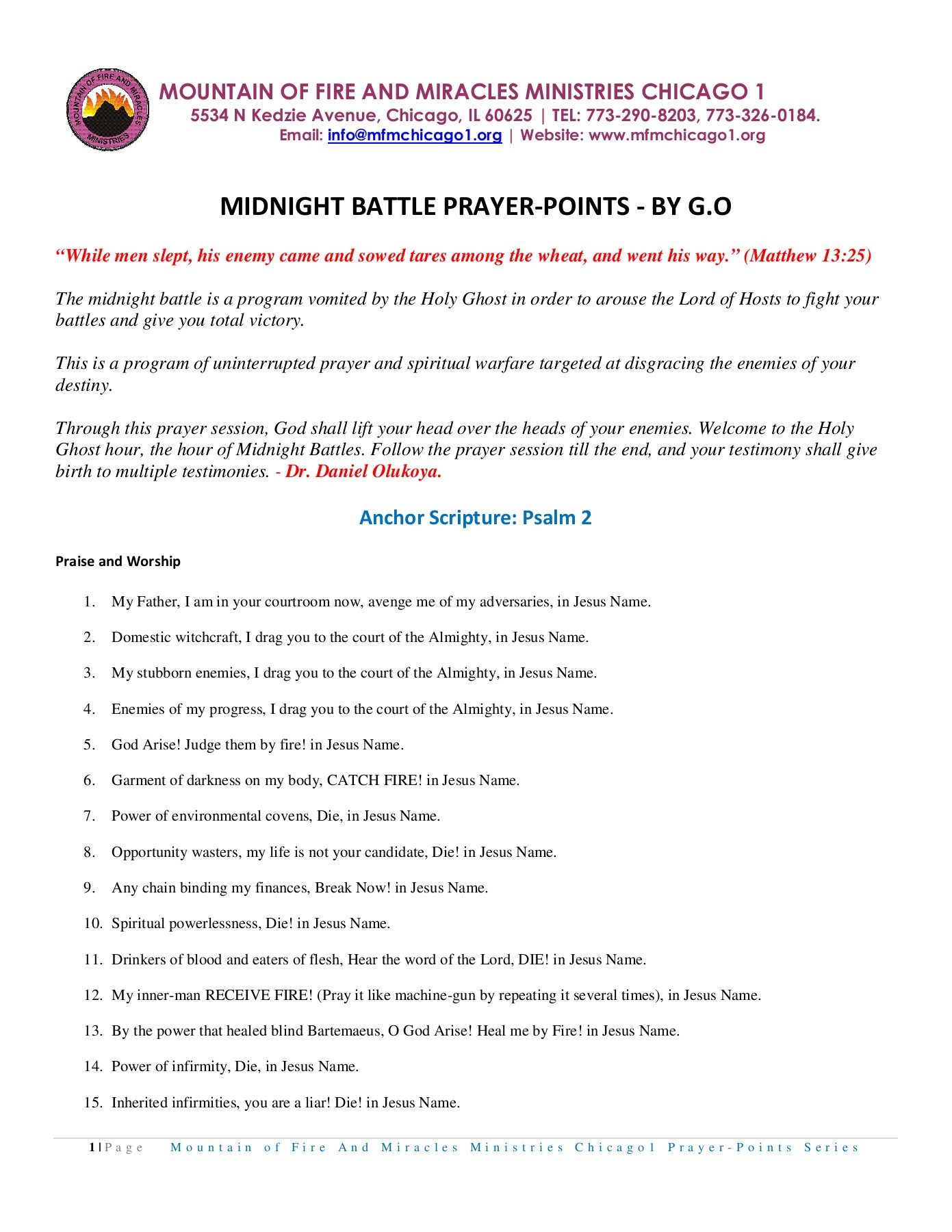 MIDNIGHT BATTLE PRAYER-POINTS - MFM Chicago1 Pages 1 - 7 - Text