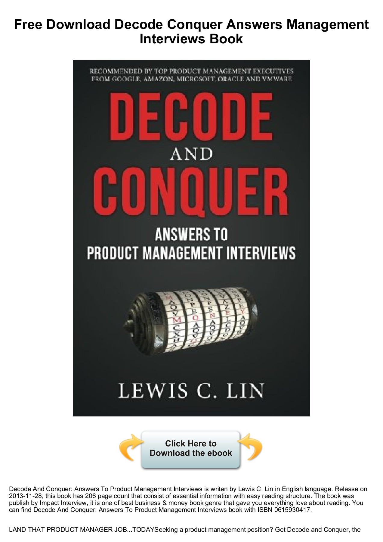 Free Download Decode Conquer Answers Management Interviews