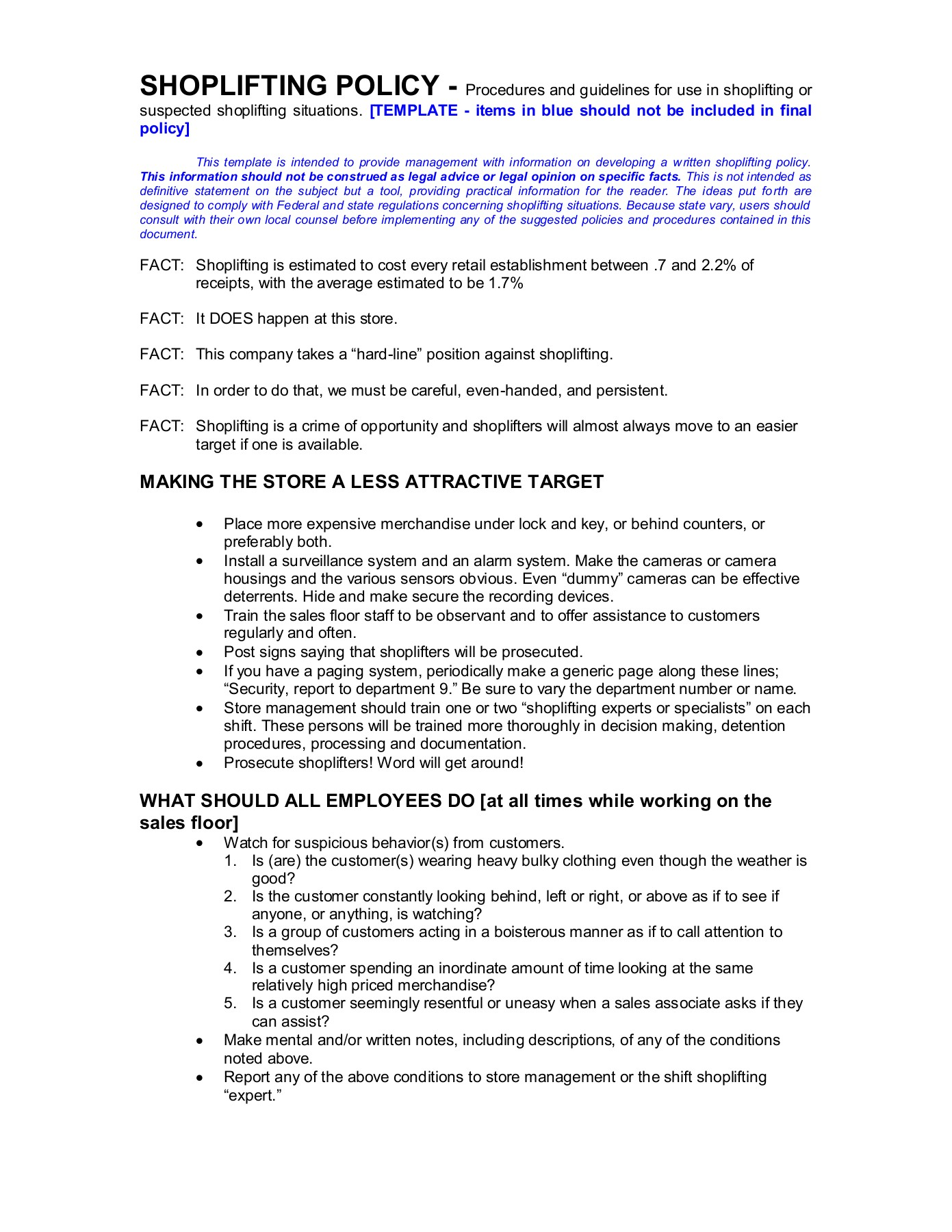 Shoplifting Policy Pages 1 4 Text Version Anyflip