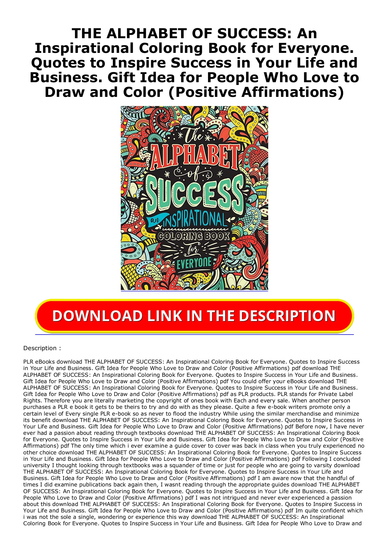 PDF Download THE ALPHABET OF SUCCESS An Inspirational Coloring ...