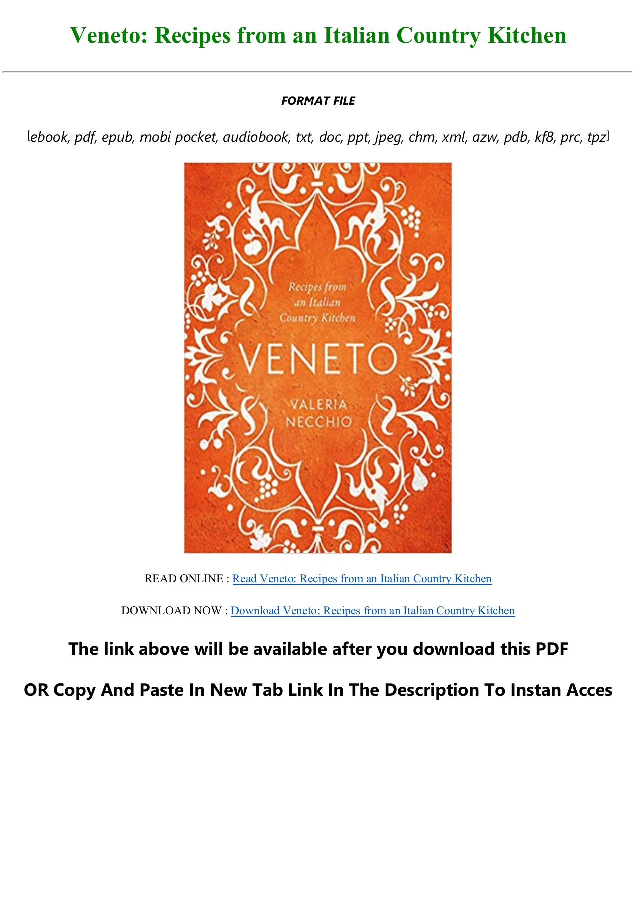 Ebook Veneto Recipes From An Italian Country Kitchen For Any Device Flip Ebook Pages 1 3 Anyflip Anyflip