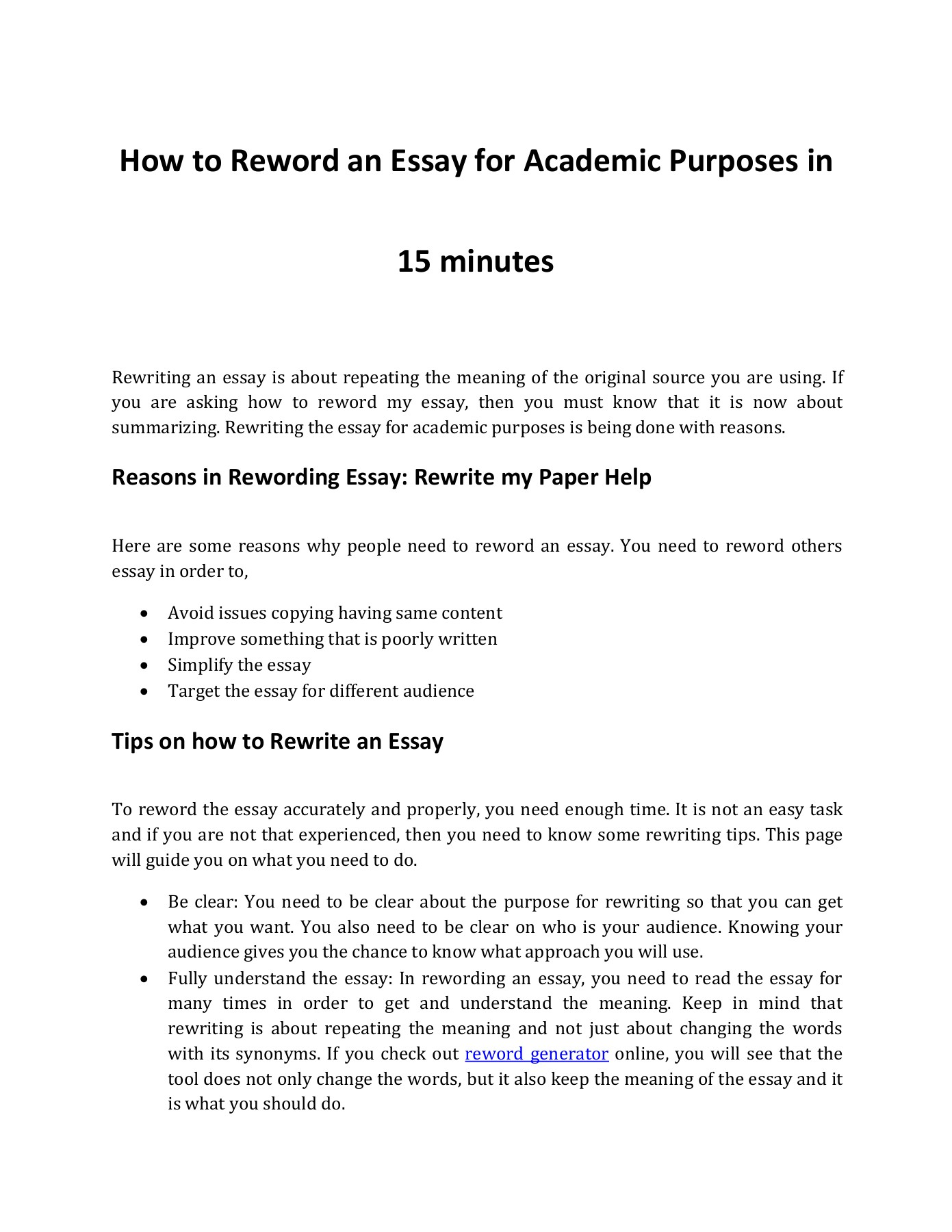 Help Reword My Essay How To Do It In 15 Minutes Pages 1 3