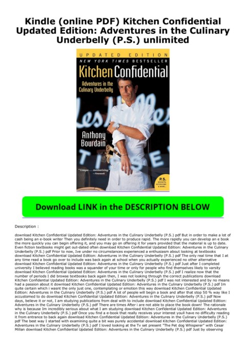 Kindle Online Pdf Kitchen Confidential Updated Edition Adventures In The Culinary Underbelly P S Unlimited Flip Ebook Pages 1 2 Anyflip Anyflip
