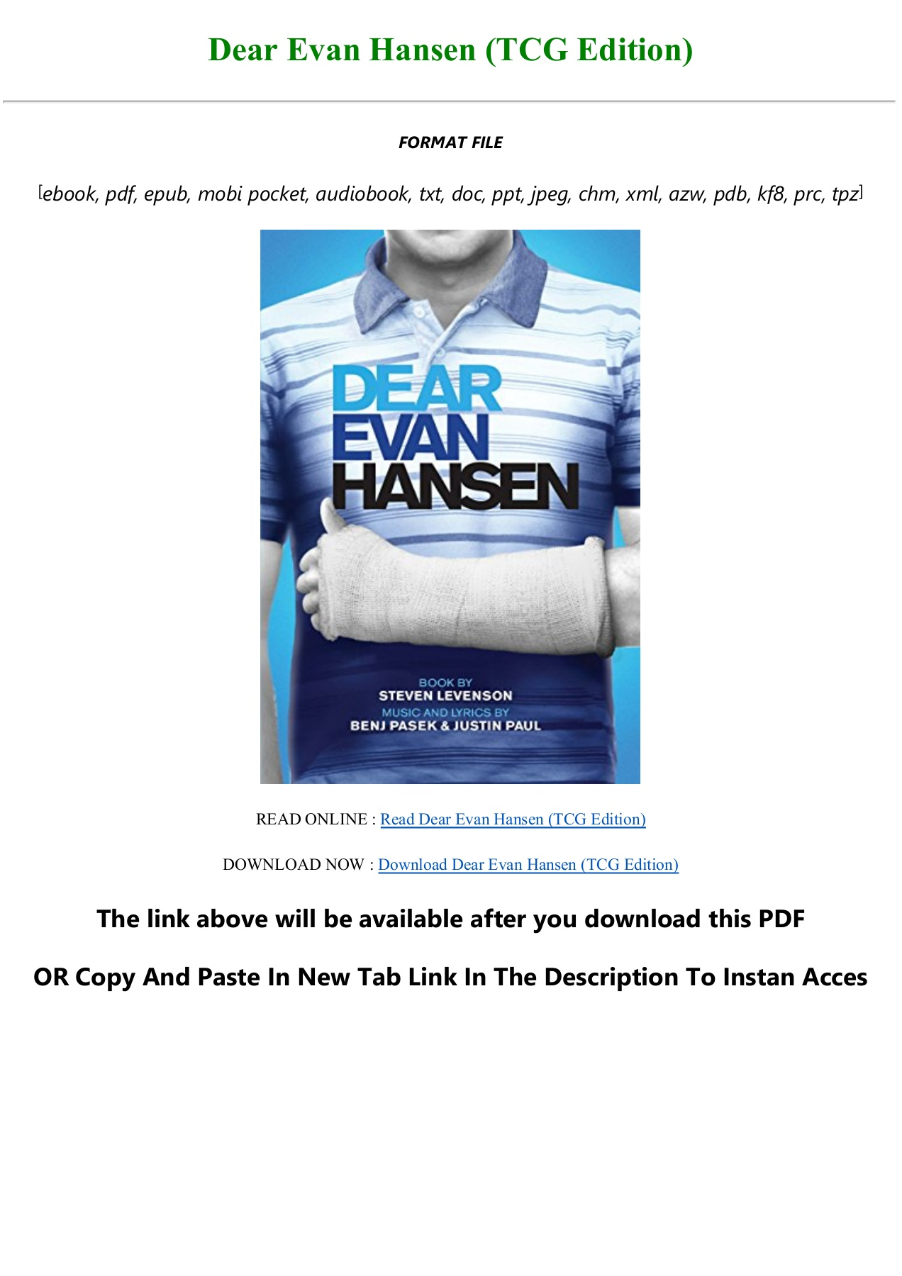 E Book F R E E Dear Evan Hansen Tcg Edition Full Flip Ebook Pages 1 3 Anyflip Anyflip