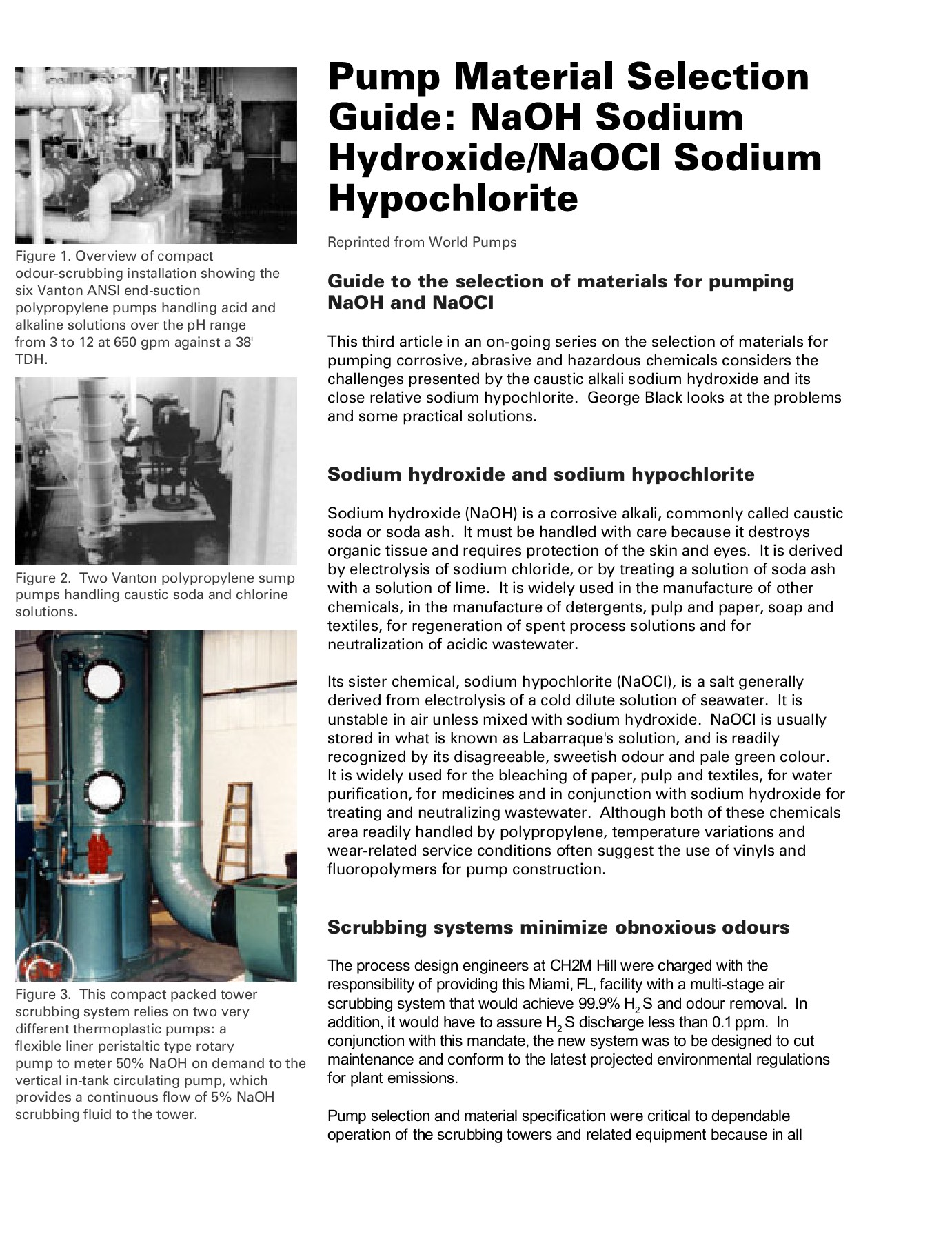 Pump Material Selection Guide: NaOH Sodium Hydroxide/NaOCl