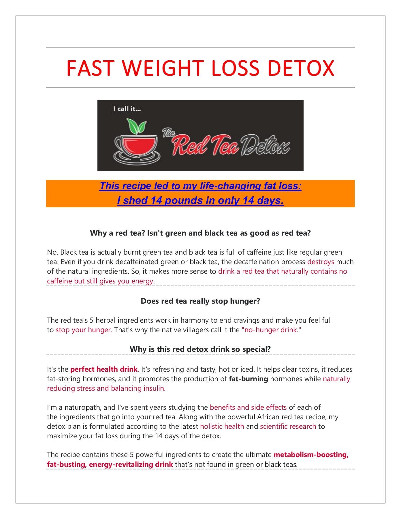 Fast weight loss drink