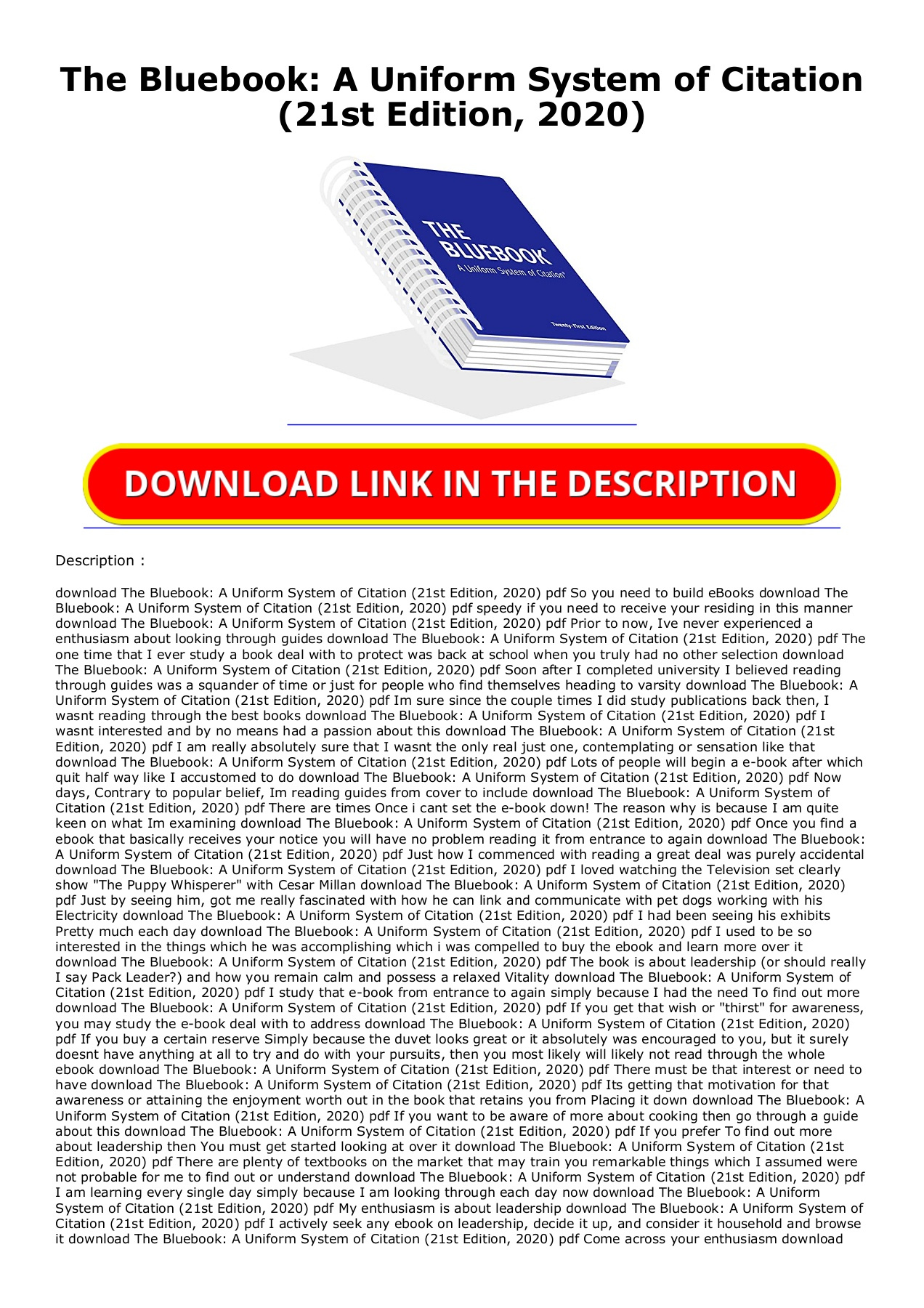 Kindle Onlilne The Bluebook A Uniform System Of Citation 21st Edition 2020 Unlimited Pages 1 2 Text Version Anyflip