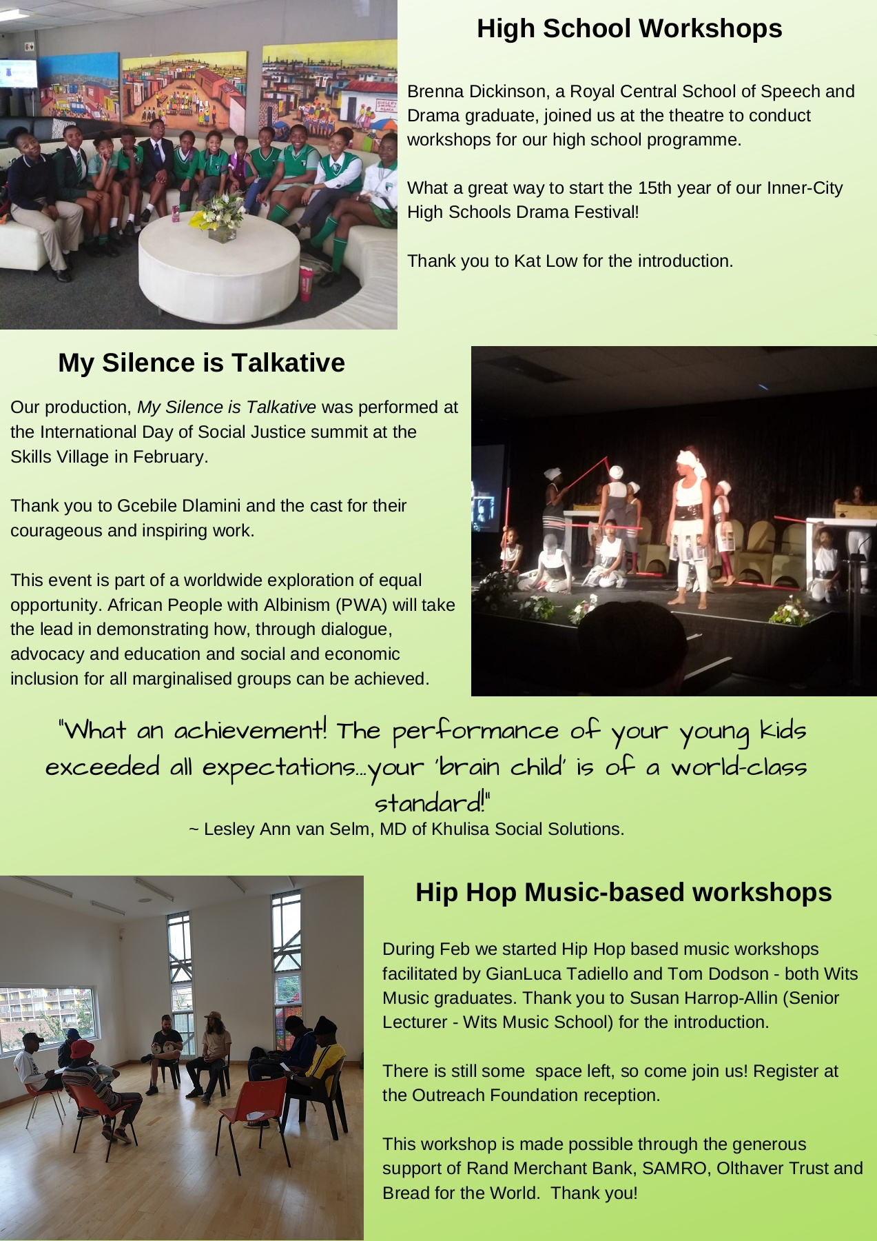 Outreach Foundation Newsletter 5 Pages 1 - 7 - Text Version