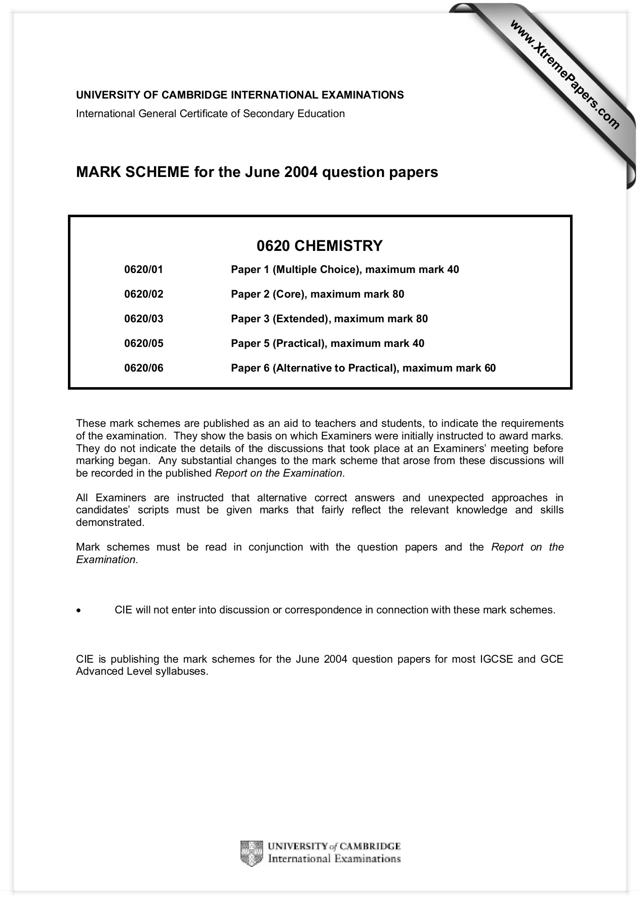 MARK SCHEME for the June 2004 question papers 0620 CHEMISTRY