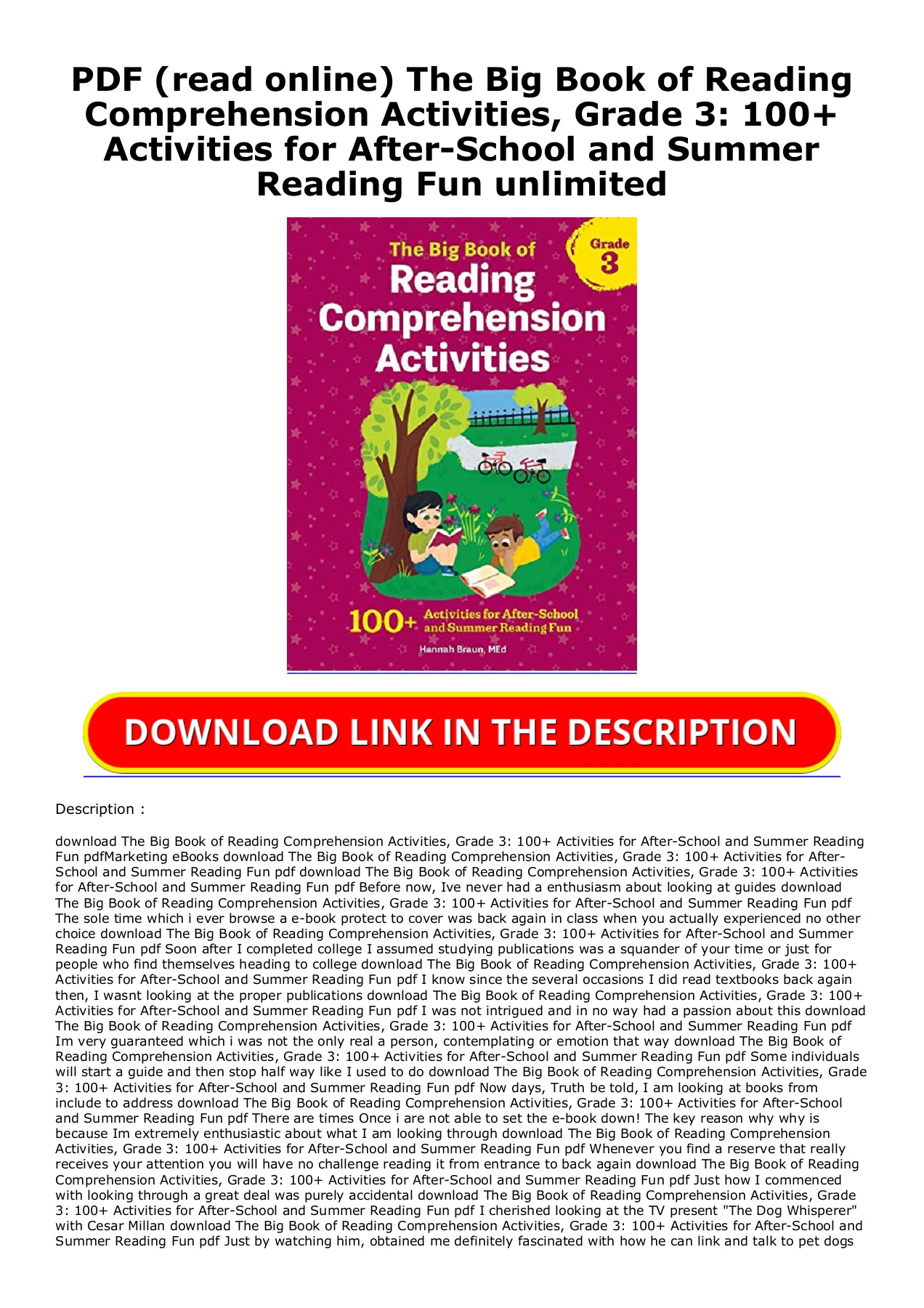 Pdf Read Online The Big Book Of Reading Comprehension Activities Grade 3 100 Activities For After School And Summer Reading Fun Unlimited Flip Ebook Pages 1 2 Anyflip Anyflip Reading comprehension college pdf