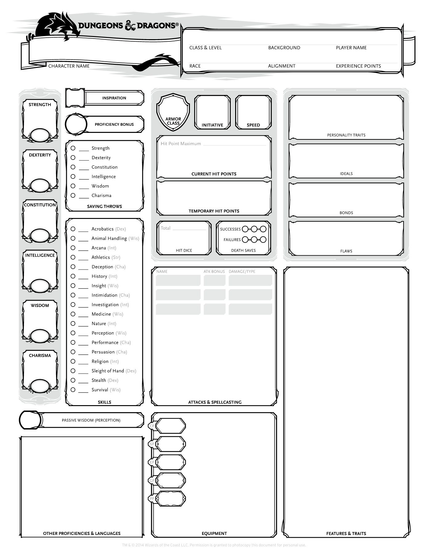 It is a picture of D&d 5e Printable Character Sheet within 2nd edition