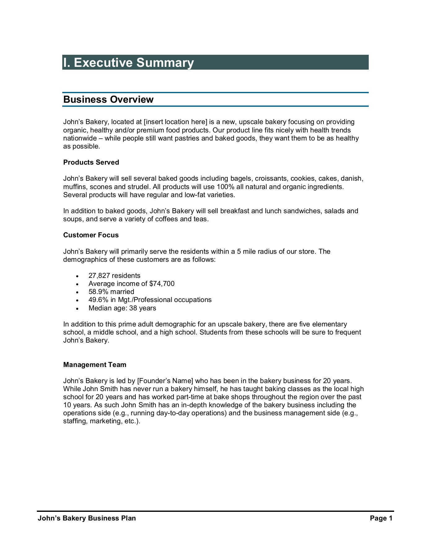 Sample Bakery Business Plan Pages 1 29 Text Version Anyflip