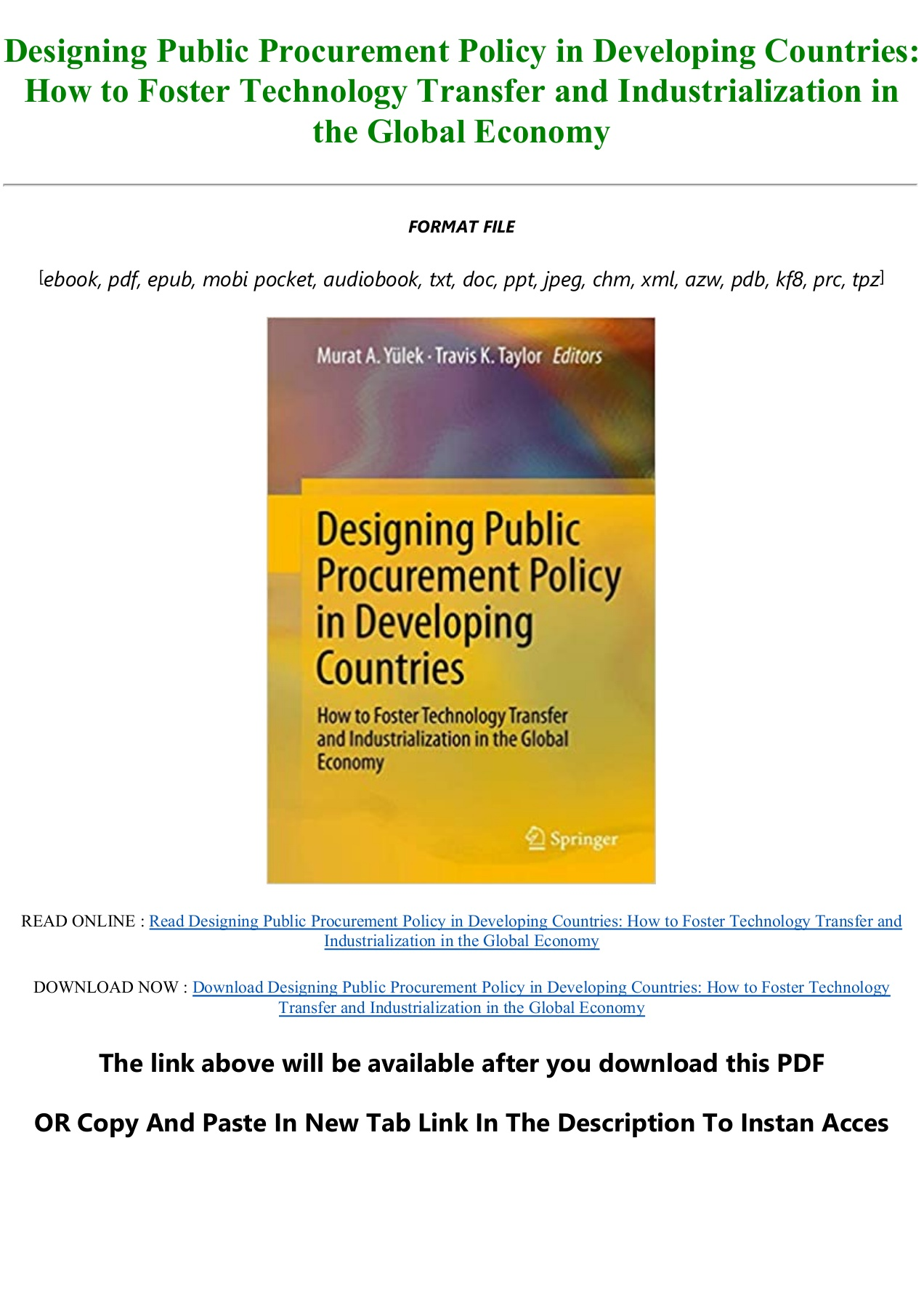 Download eBook Designing Public Procurement Policy in Developing ...