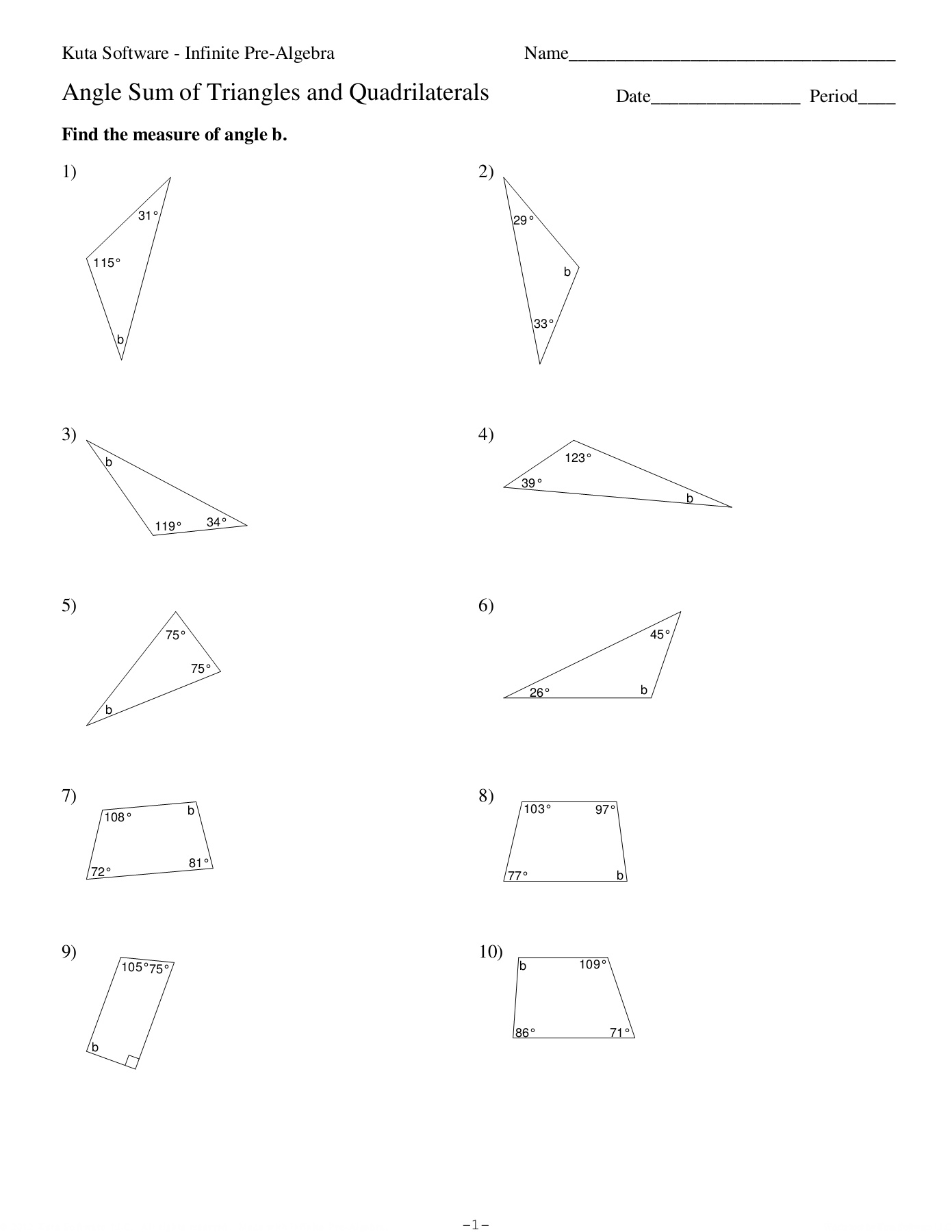 Angle Sum of Triangles and Quadrilaterals.pdf-bliss-Flip eBook In Triangle Angle Sum Worksheet