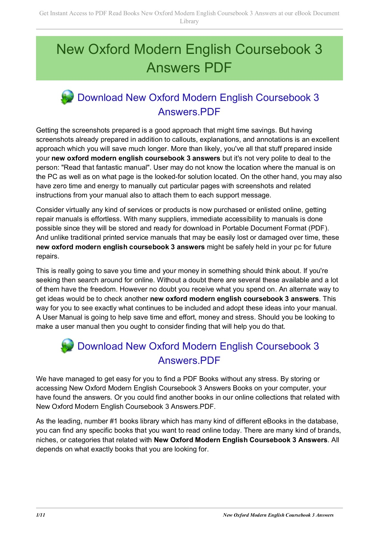 New Oxford Modern English Coursebook 3 Answers Pages 1 11