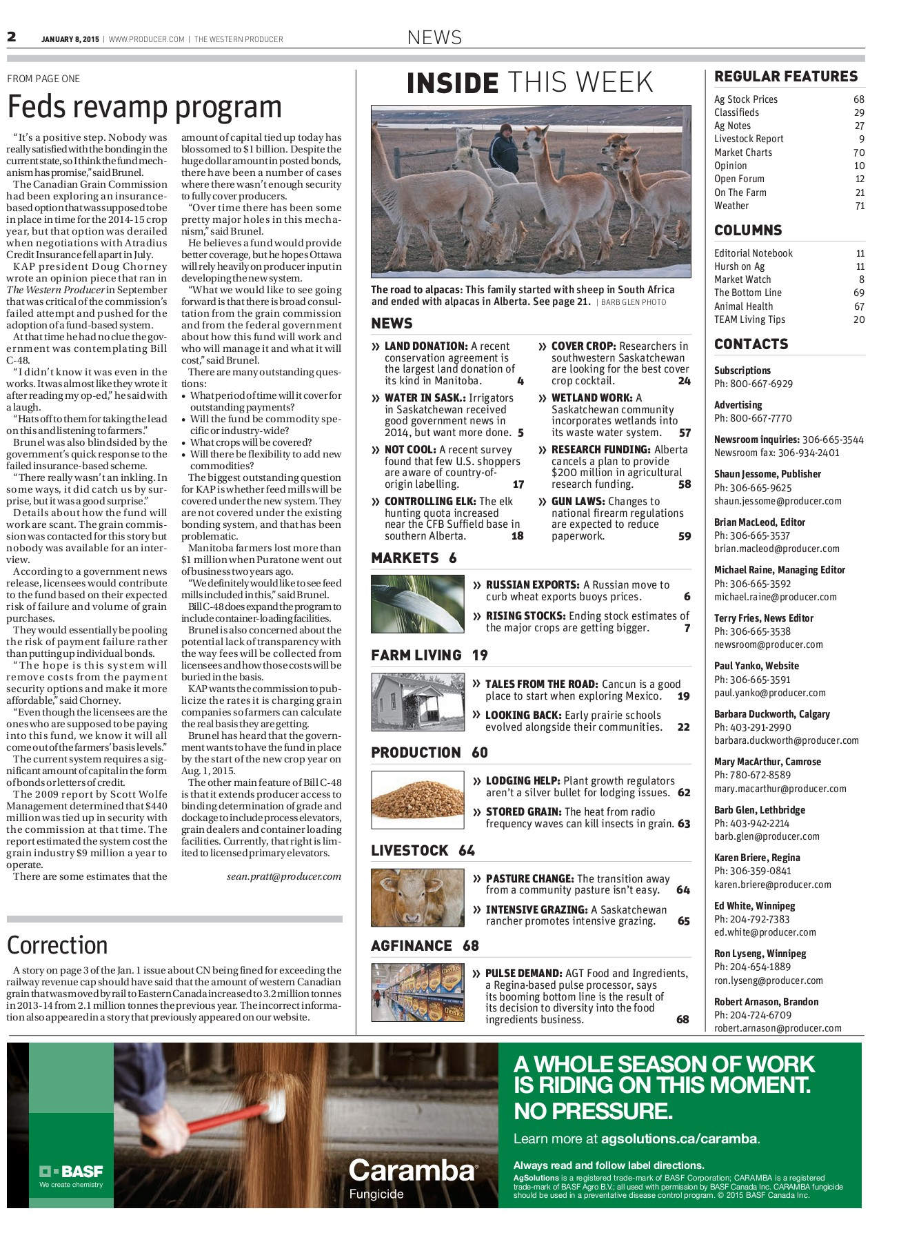 Western Producer 2015-01-08 Pages 1 - 50 - Text Version