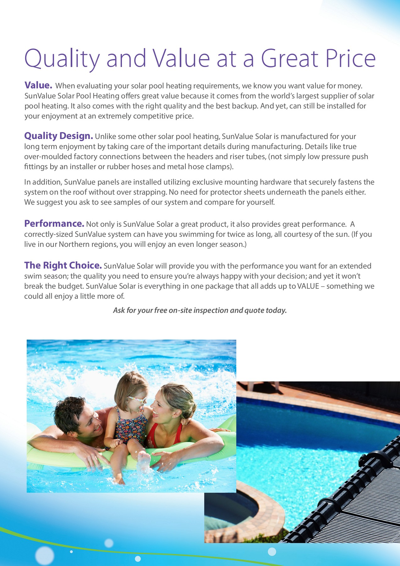 SunValue Solar Pool Heating Brochure Pages 1 - 4 - Text ...