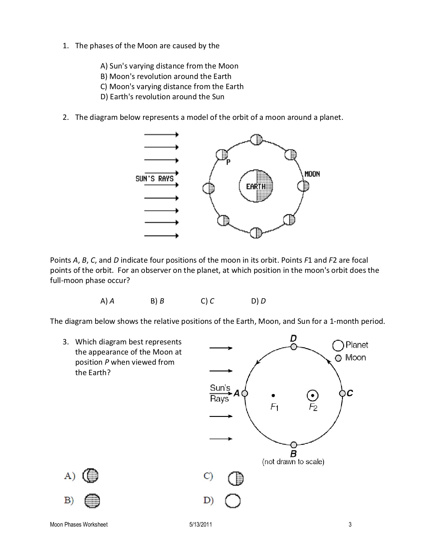 Moon Phases Worksheet Lunar Diagram First